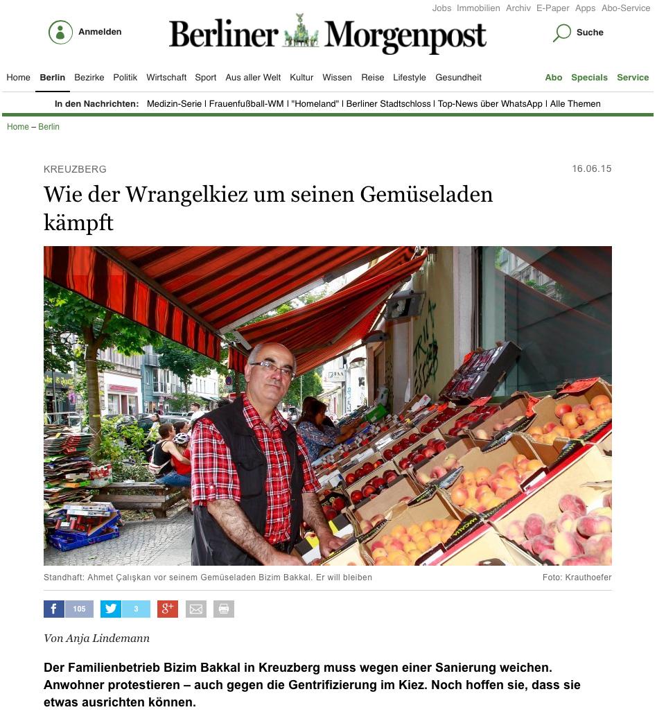Screenshot aus der Online-Ausgabe der Berliner Morgenpost