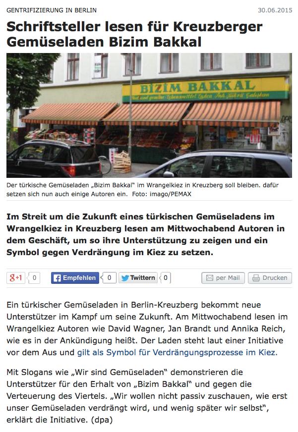 Screenshot aus dem Online-Auftritt der Berliner Zeitung