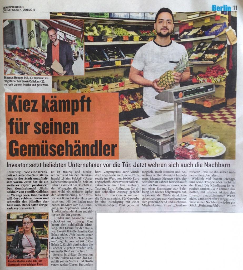 Kiez kämpft für seinen Gemüsehändler – Seite im Berliner Kurier