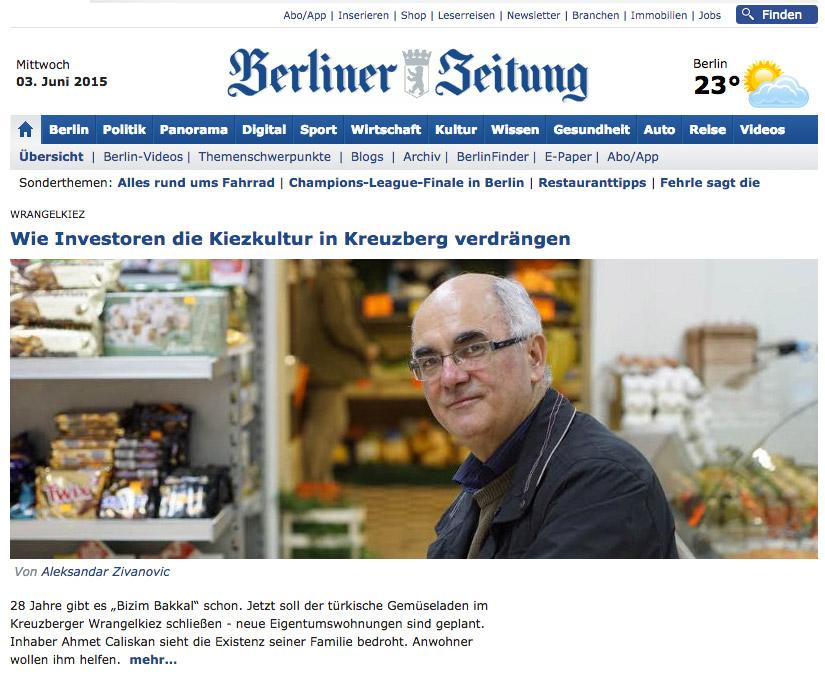 Aufmacher der Berliner Zeitung online am 3. Juni