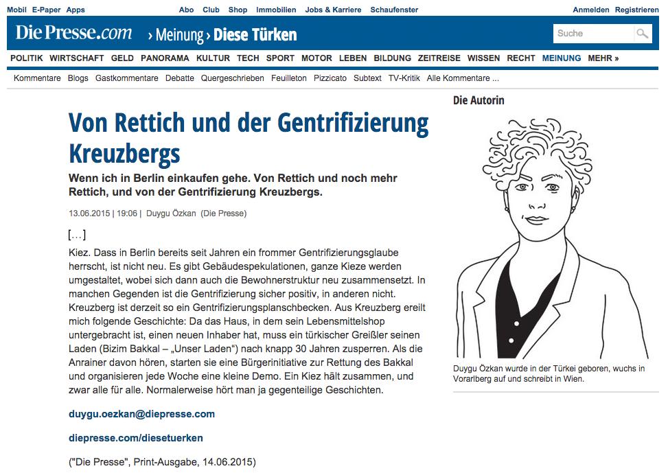 """Screenshot der Online-Ausgabe von """"Die Presse"""""""
