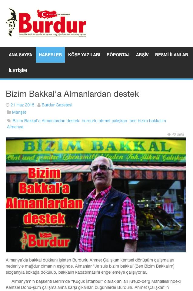 Screenshot aus der Online-Ausgabe der Burdur