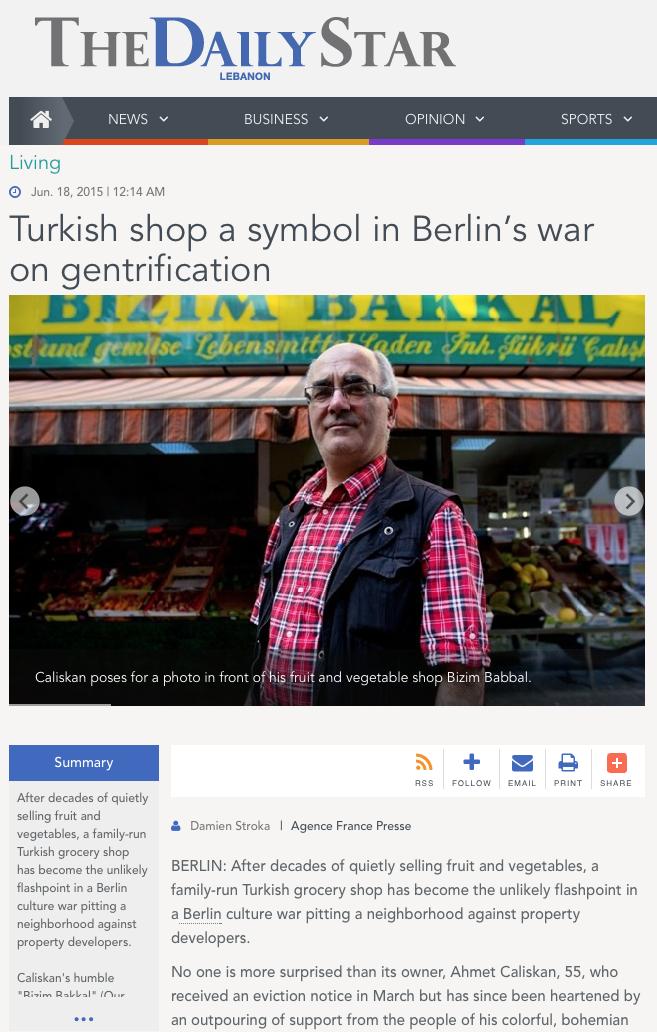 "Screenshot aus ""The Daily Star"" – engl. sprachige Zeitung im Libanon"