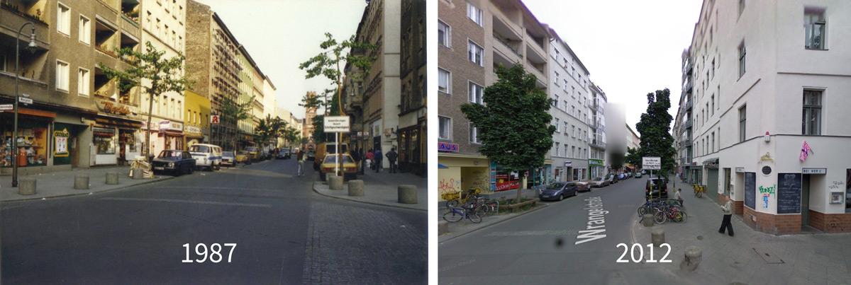 Ecke Wrangelstraße / Falkensteinstraße im zeitlichen Abstand von 15 Jahren.