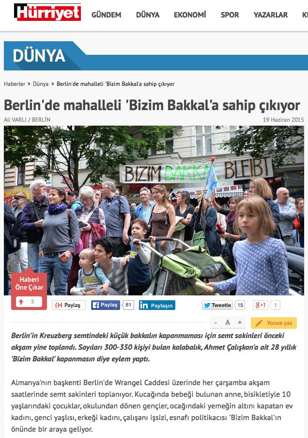Screenshot aus der Online-Ausgabe von Hürriyet