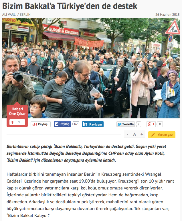 Screenshot aus dem Online-Auftritt der Hürriyet