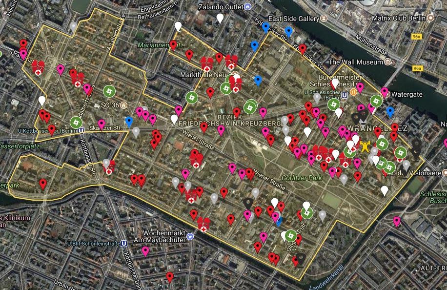 Karte der Verdrängung mit unzähligen Einzelfällen von Entmietung und Spekulation.