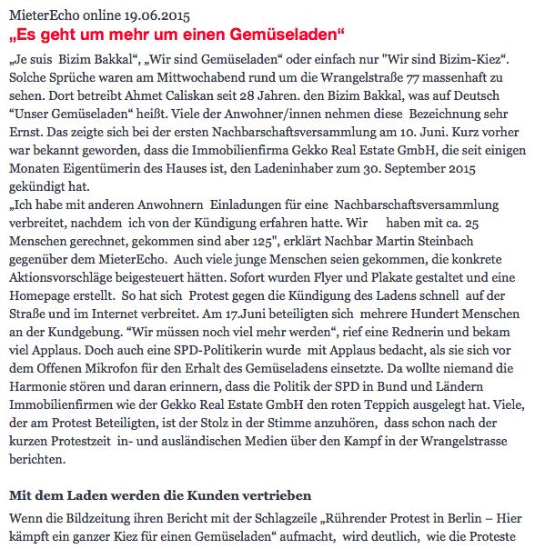 Mieterecho Artikel vom 19.06.2015