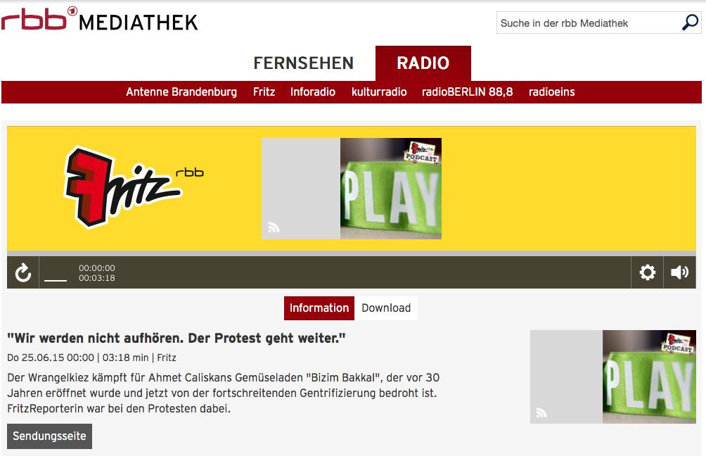 Screenshot aus der Mediathek von Radio Fritz