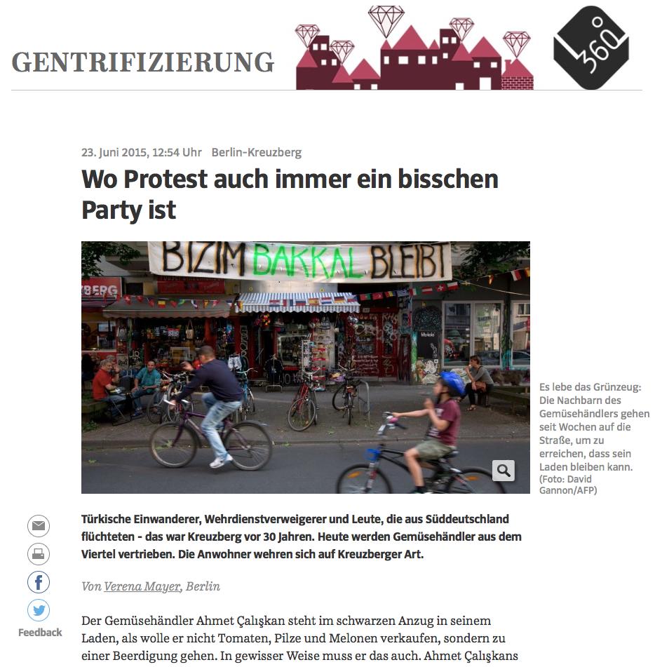 Screenshot aus der Online-Ausgabe der Süddeutschen Zeitung