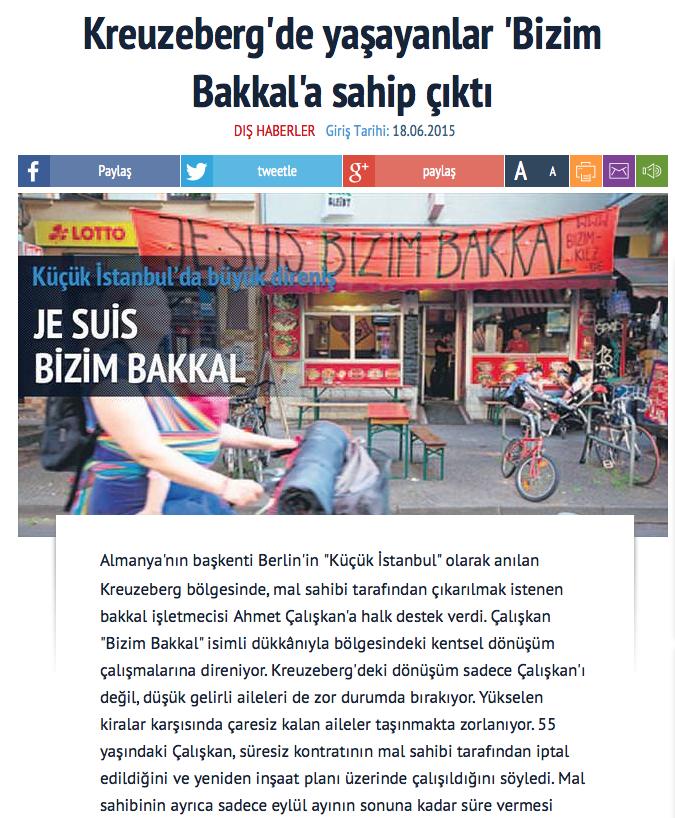 Screenshot aus der Online-Ausgabe der türkischen Tageszeitung »Sabah«