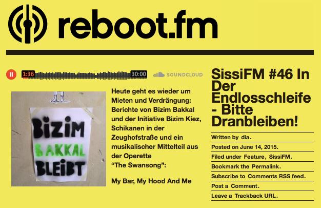 Screenshot der SissiFM Sendung auf reboot.fm