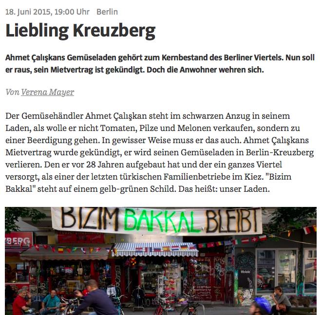 Screenshot der Online-Ausgabe der Süddeutschen Zeitung