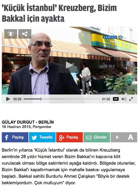 Screenshot aus dem Online-Auftritt von Zaman Aktüel