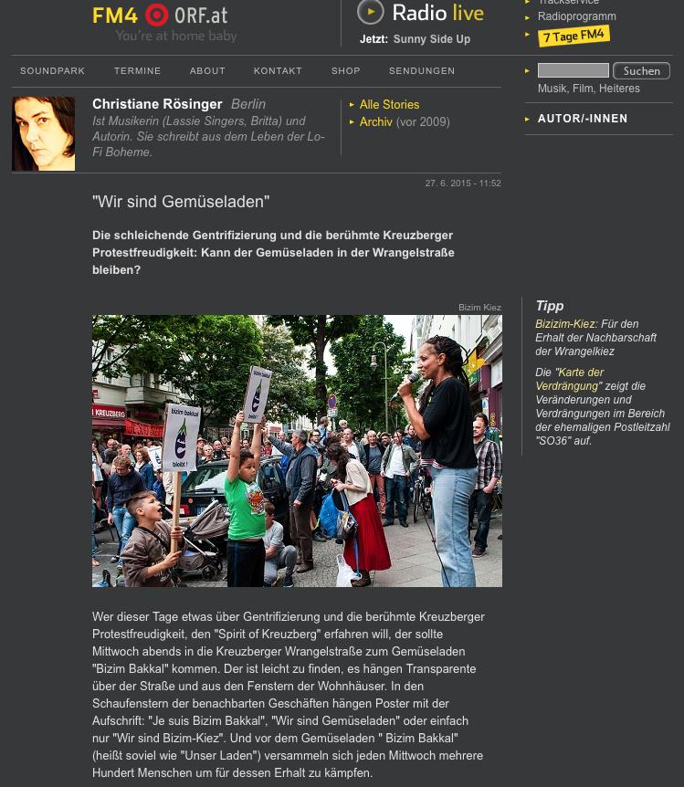 Screenshot aus dem Online-Auftritt von FM4