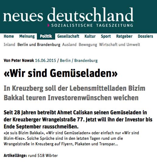 """Screenshot aus der Online-Ausgabe von """"neues Deutschland"""""""