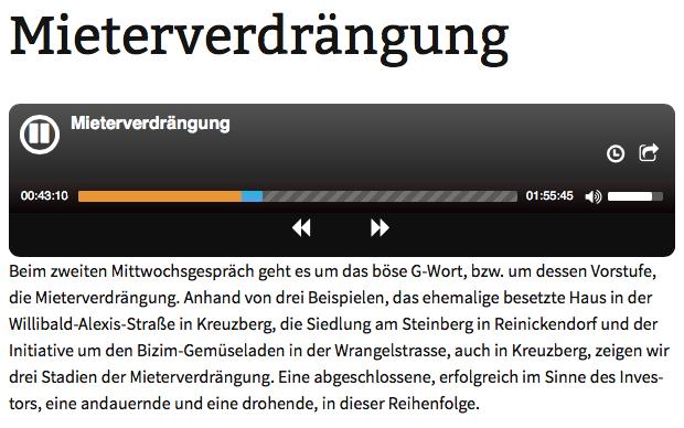 Screenshot aus der Website von KiezFM Podcast