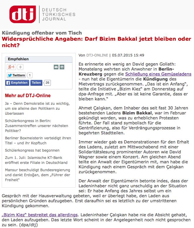 Screenshot aus dem Online-Auftritt des Deutsch Türkischen Journals