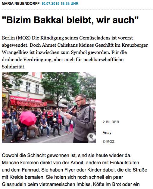 Screenshot aus der Online-Präsenz der Märkischen Oderzeitung