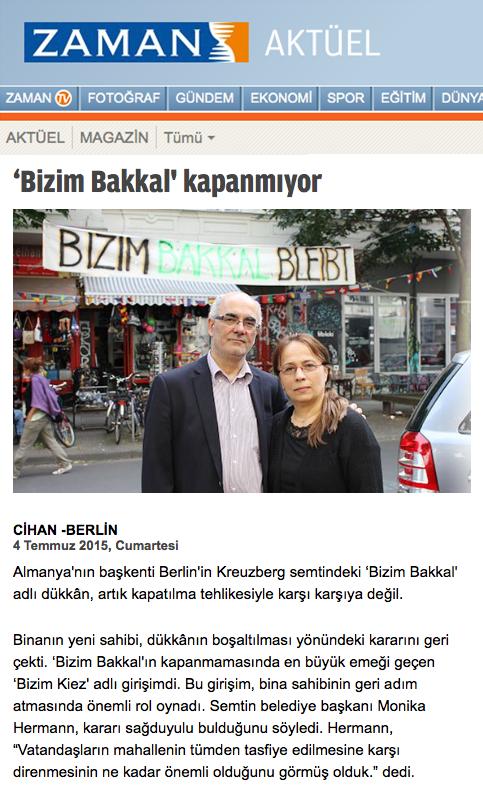 Screenshot aus dem Online-Auftritt der Zaman Aktuell