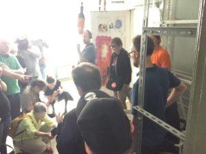 Pressekonferenz bei HG/M99 mit Vertreterin vom Bündnis Zwangsräumung verhindern