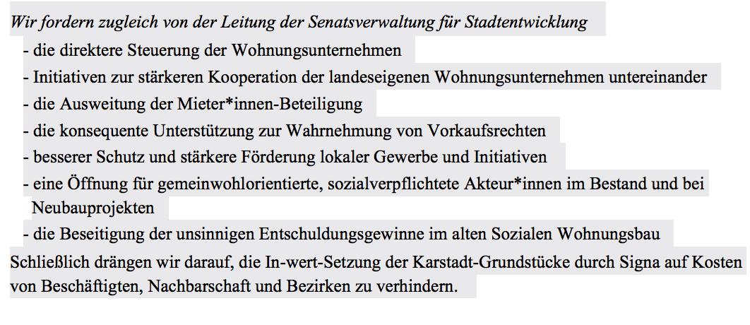 Stellungnahme und Forderungen einiger Initiativen zur Neubesetzung des Senatorinnen-Postens nach dem Rücktritt von Katrin Lompscher
