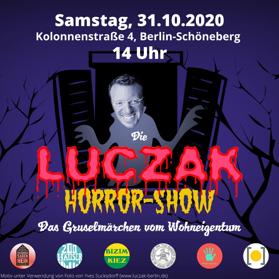 """Für ein wirksames Umwandlungsverbot: """"Die Luczak-Horror-Show – das Gruselmärchen vom Wohneigentum"""" am 31.10. vor CDU-Abgeordnetenbüro"""